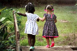 2 little girls walking