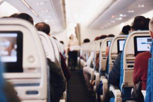 an aisle in an airplane