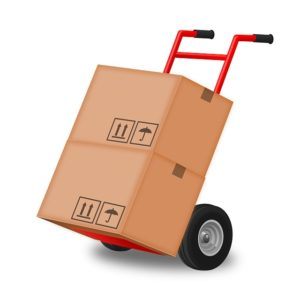 A hand truck with two moving boxes.