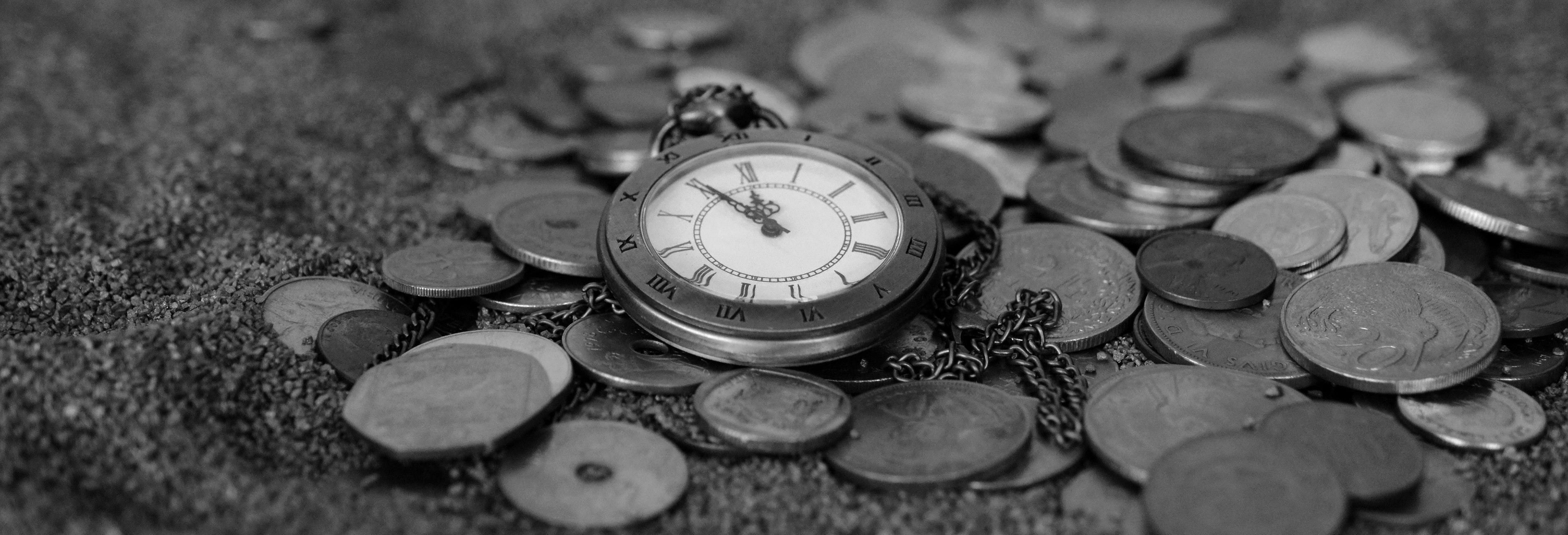Antique black and white clock
