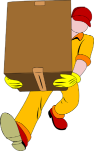 A mover carrying a cardboard box