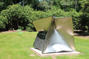 modern sculpture, broken cube