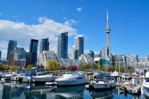 Toronto's port and skyscrapers.
