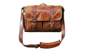 Brown bag with a strap.
