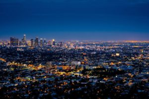 A view of Los Angeles by night.