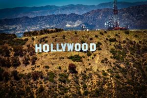 A Hollywood sign on the hill in Los Angeles.