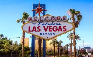 The sign of Las Vegas which may be one of the best cities in Nevada to raise a family.