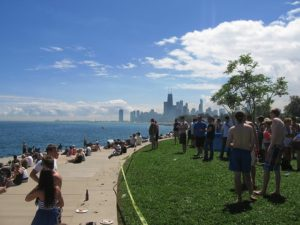 A view of Chicago and the beach.