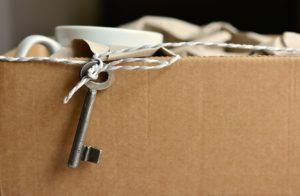 Some items packed in a cardboard box.