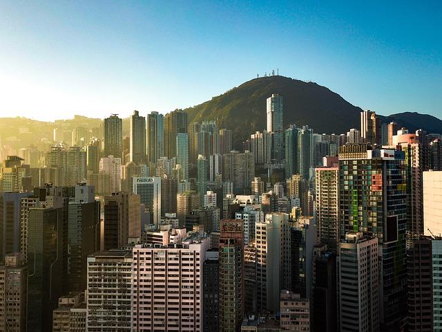 A skyscraper in Hong Kong.