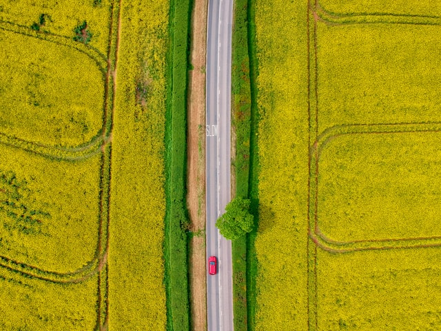 Aerial view on the car passing through fields.