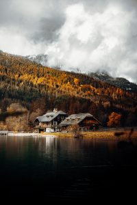 A house on the lake in Autumn