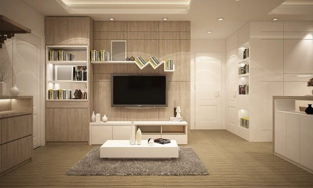 Furniture with a soft grey rug in front of a big plasma TV .