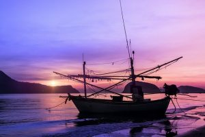 A boat at purple sunset