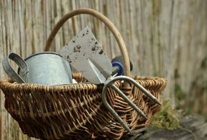 Watering can and other tools in a straw basket