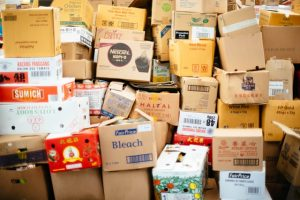 An image of piled up boxes