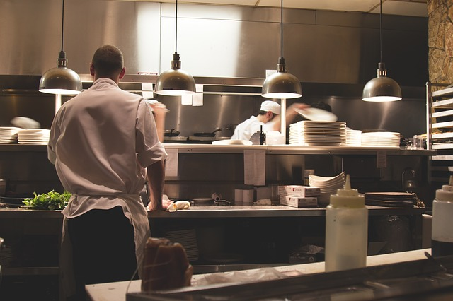 A restaurant kitchen.