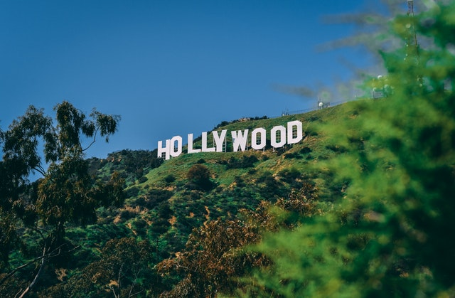 There is a picture of a Hollywood sign.